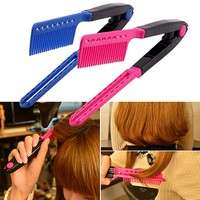 hzoF-Fashion V Type Hair Straightener Comb DIY Salon Hairdressing Styling Tool