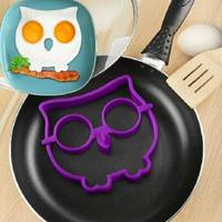 k22f-Breakfast Silicone Owl Fried Egg Mold Pancake Egg Ring Shaper Funny Cooking Tool