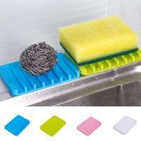 k2YS-Silica Soap Holder Soap Dish Saver Gel Water Shower Drying Bathroom Silicone Storage Box