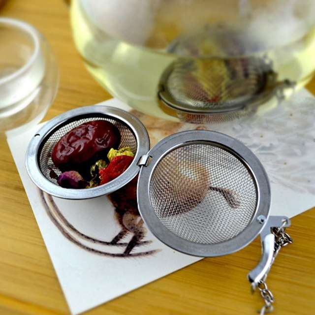 1PC Fashion Round Stailess Steel Tea Spice Strainer Mesh Ball Infuser Herbal Spice Filter Diffuser-2