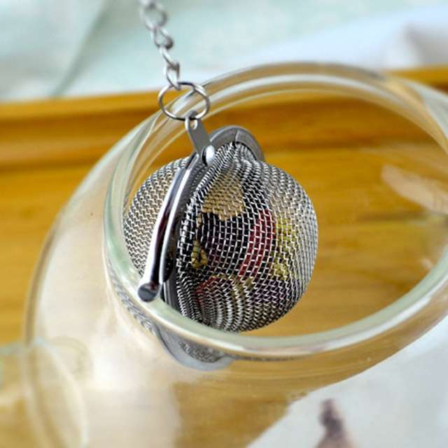 1PC Fashion Round Stailess Steel Tea Spice Strainer Mesh Ball Infuser Herbal Spice Filter Diffuser-5