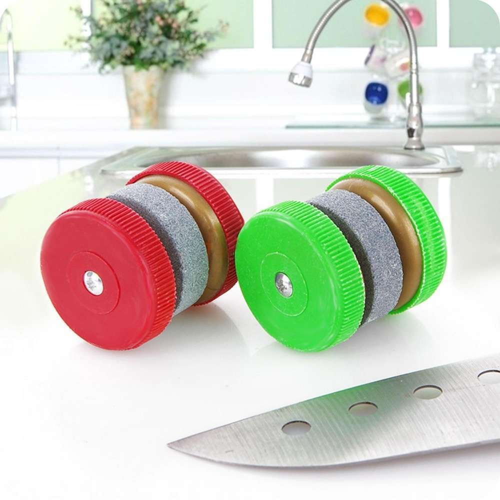 1 X Compact Round Easy-to-use Knife Sharpener Grinder Stones (Size: 35mm by 35mm)-3