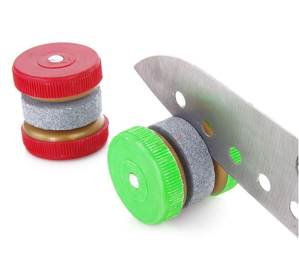 1 X Compact Round Easy-to-use Knife Sharpener Grinder Stones (Size: 35mm by 35mm)-4