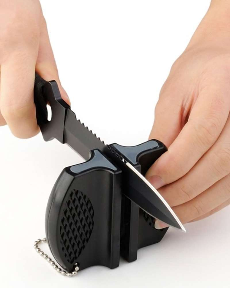 Portable Ceramic Rod Tungsten Steel Camp Pocket Kitchen Knife Sharpener Tool