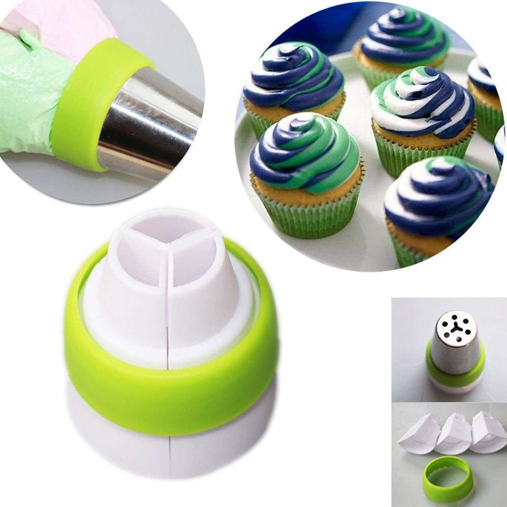 3 Hole 3 Color Icing Piping Bag Nozzle Converter Tri-color Cream Coupler Cake Decorating Tools for Cupcake Fondant Cookie