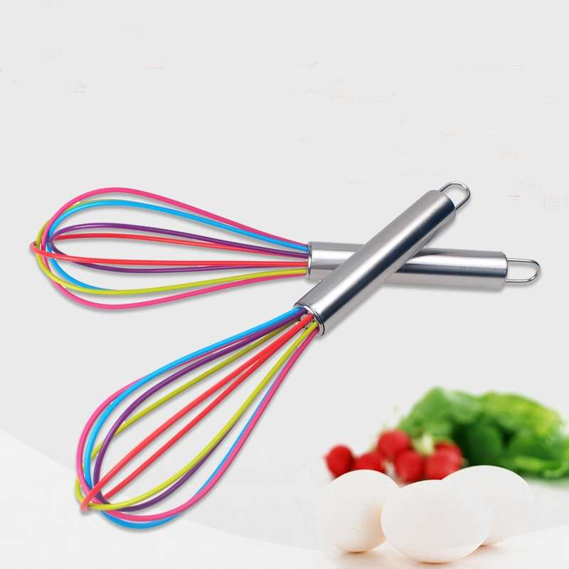 Stainless Steel Handle Egg Whisk Silicone Kitchen Mixer Balloon Wire Egg Beater Tool