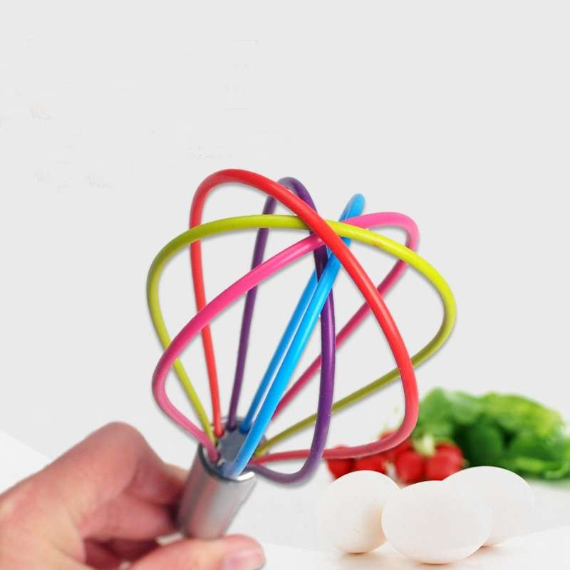 Stainless Steel Handle Egg Whisk Silicone Kitchen Mixer Balloon Wire Egg Beater Tool-2