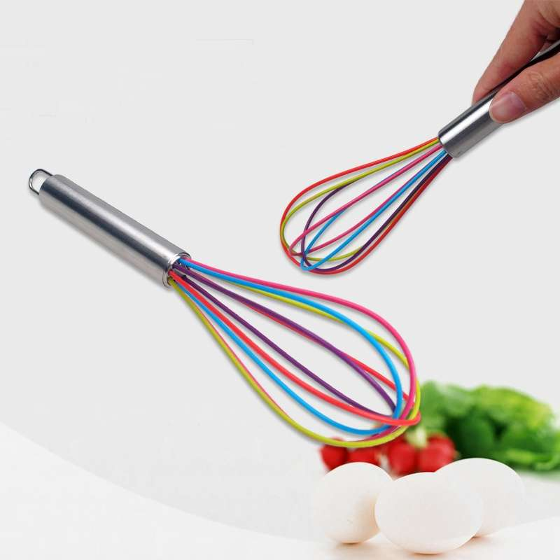 Stainless Steel Handle Egg Whisk Silicone Kitchen Mixer Balloon Wire Egg Beater Tool-5