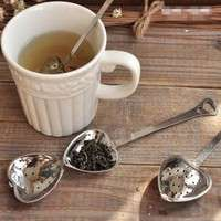 kFBG-Heart Shape Stainless SteelTea Infuser Spoon Strainer Steeper Handle Shower