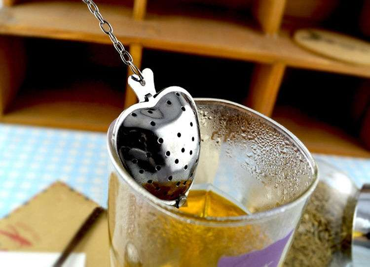 Heart Shape Stainless SteelTea Infuser Spoon Strainer Steeper Handle Shower-2