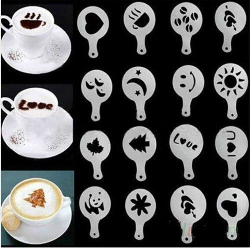 16 PCS Set New Creative Plastic Garland Mold Fancy Coffee Printing Model Thick Coffee Foam Spray