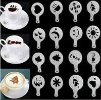 kFDH-16 PCS Set New Creative Plastic Garland Mold Fancy Coffee Printing Model Thick Coffee Foam Spray