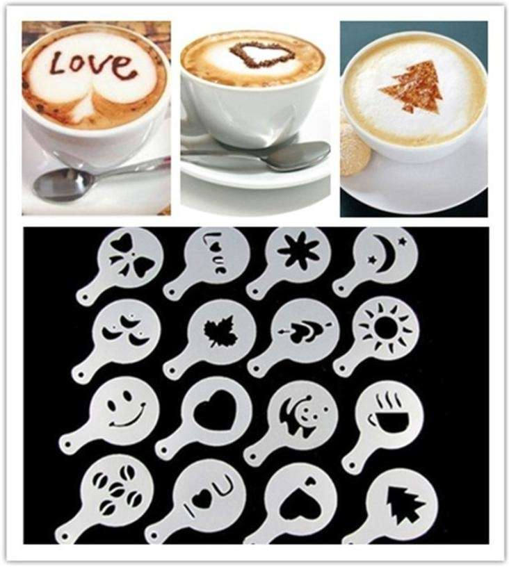 16 PCS Set New Creative Plastic Garland Mold Fancy Coffee Printing Model Thick Coffee Foam Spray-1