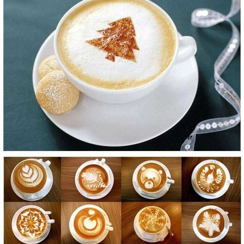 16 PCS Set New Creative Plastic Garland Mold Fancy Coffee Printing Model Thick Coffee Foam Spray-5