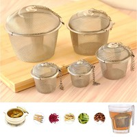 kGjR-Tea Stainless Strainer Locking Tea Spice Mesh Herbal Ball Diam 4.5cm