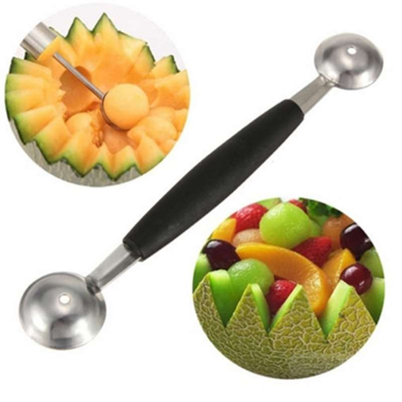 Dual Double End Stainless Steel Melon Fruit Baller Scoop Ice cream Desert Spoon-2
