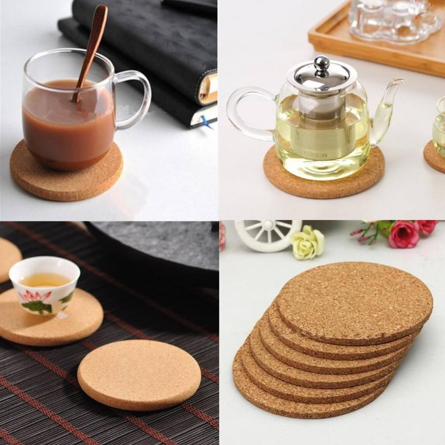 5pcs Cup Mat Round Place mat Coasters Wine Table mats New Cork Chic Plain Drink Hot Coffee Tea Creative Pop