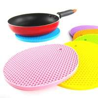 kMni-18*18cm Durable Silicone Round Non-slip Heat Resistant Mat Cushion Placemat Pot Holder