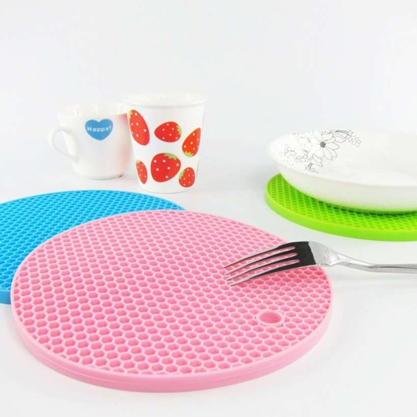 18*18cm Durable Silicone Round Non-slip Heat Resistant Mat Cushion Placemat Pot Holder-1