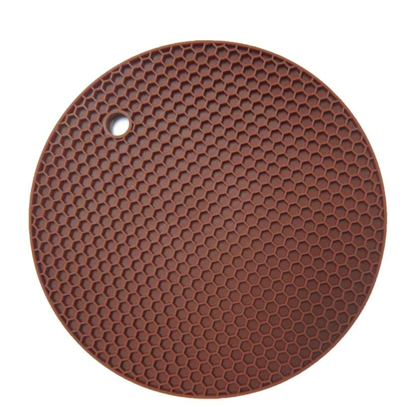 18*18cm Durable Silicone Round Non-slip Heat Resistant Mat Cushion Placemat Pot Holder-2