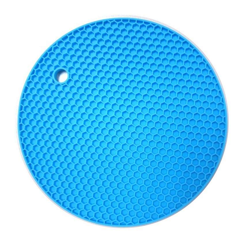 18*18cm Durable Silicone Round Non-slip Heat Resistant Mat Cushion Placemat Pot Holder-3