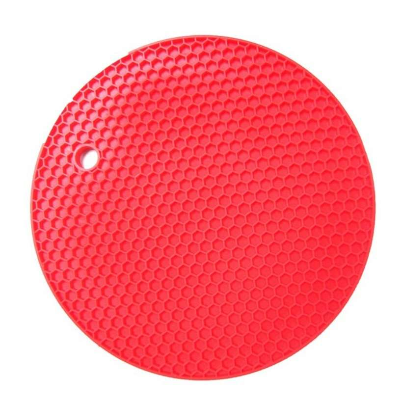 18*18cm Durable Silicone Round Non-slip Heat Resistant Mat Cushion Placemat Pot Holder-4