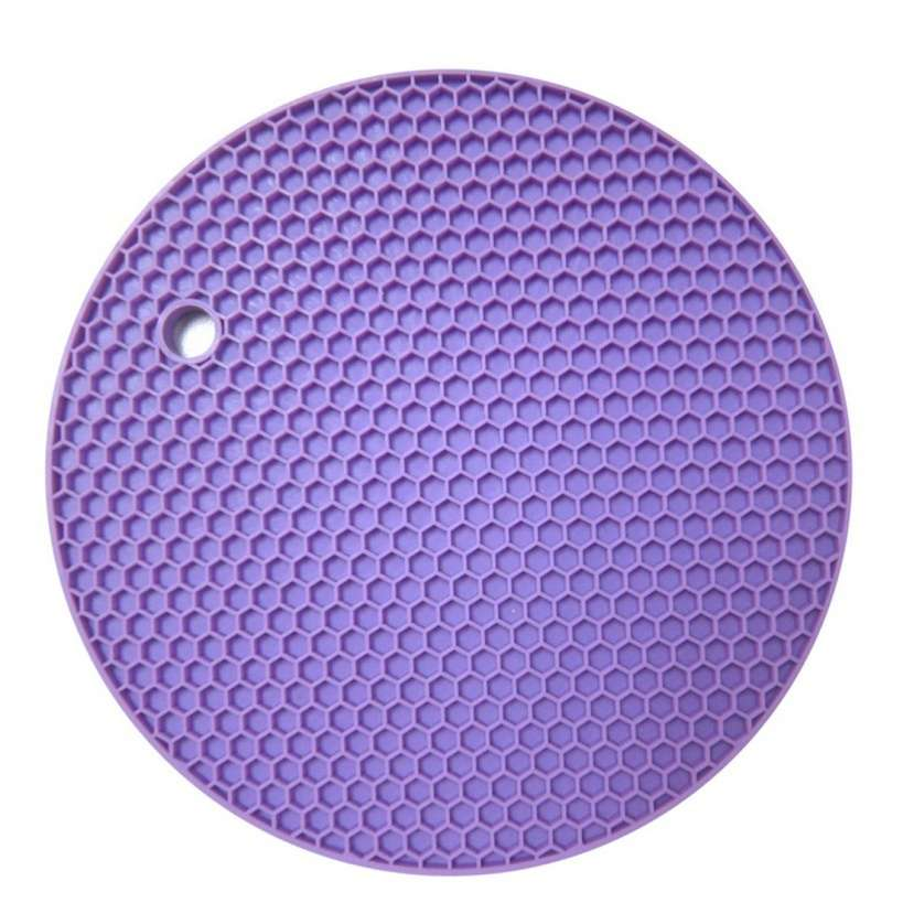 18*18cm Durable Silicone Round Non-slip Heat Resistant Mat Cushion Placemat Pot Holder-5