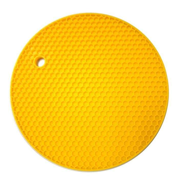 18*18cm Durable Silicone Round Non-slip Heat Resistant Mat Cushion Placemat Pot Holder-6