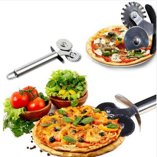 Stainless Steel Pizza Knife Cutter Scissors Double Roller Pastry Pasta Dough Crimper Round Hob Lace Wheel Pizza Cutter-8