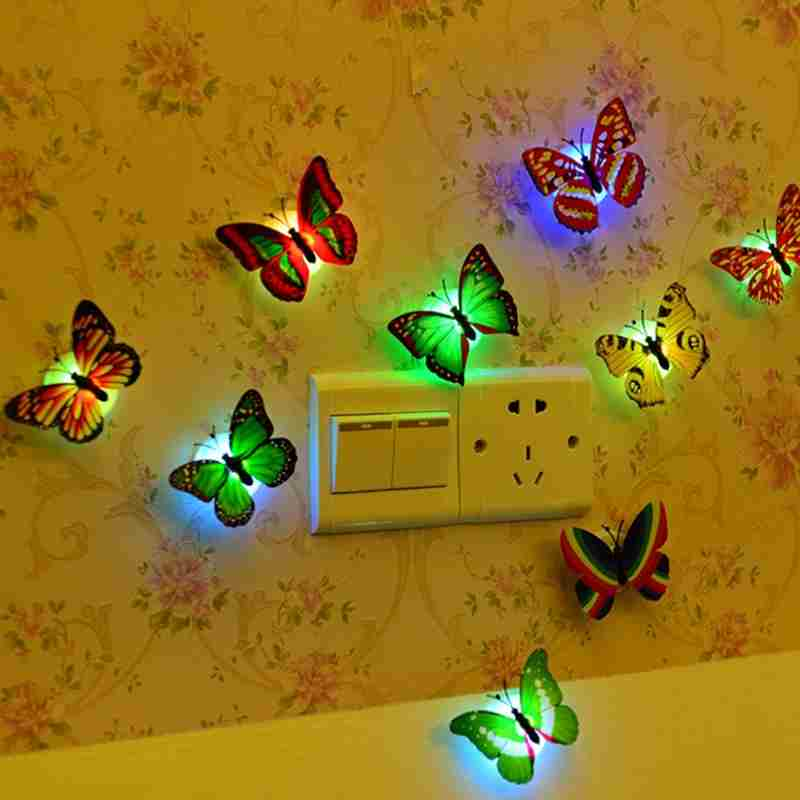 1 piece wall bathroom light Children light Creative colorful butterfly night light (Color: Multicolor)