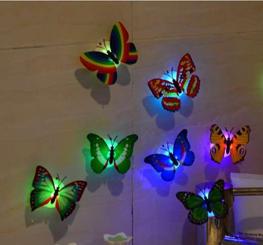 1 piece wall bathroom light Children light Creative colorful butterfly night light (Color: Multicolor)-1