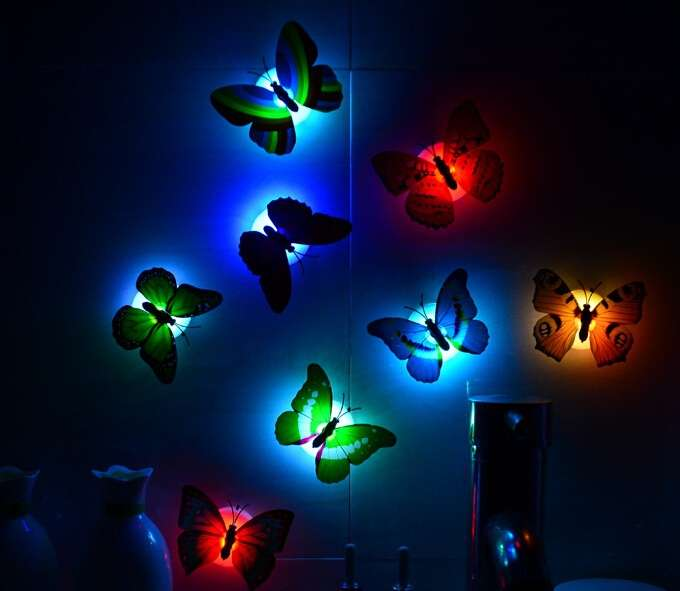 1 piece wall bathroom light Children light Creative colorful butterfly night light (Color: Multicolor)-2