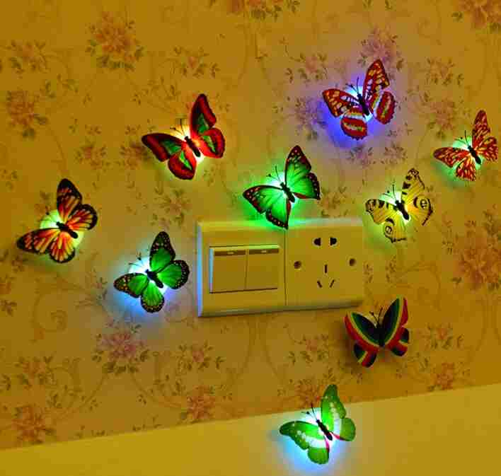 1 piece wall bathroom light Children light Creative colorful butterfly night light (Color: Multicolor)-6