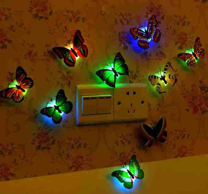 1 piece wall bathroom light Children light Creative colorful butterfly night light (Color: Multicolor)-7