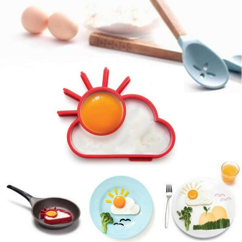 TA Silicone Cute Sun & Cloud Fried Egg Shaper Eggs Mould for Cooking Breakfast TE (Color: Red)