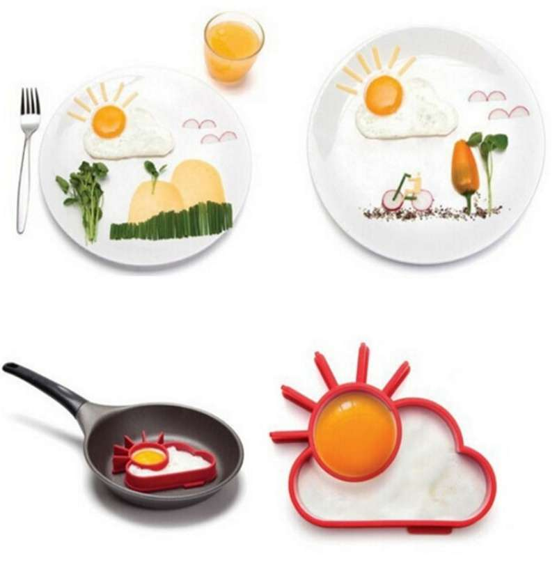 TA Silicone Cute Sun & Cloud Fried Egg Shaper Eggs Mould for Cooking Breakfast TE (Color: Red)-6