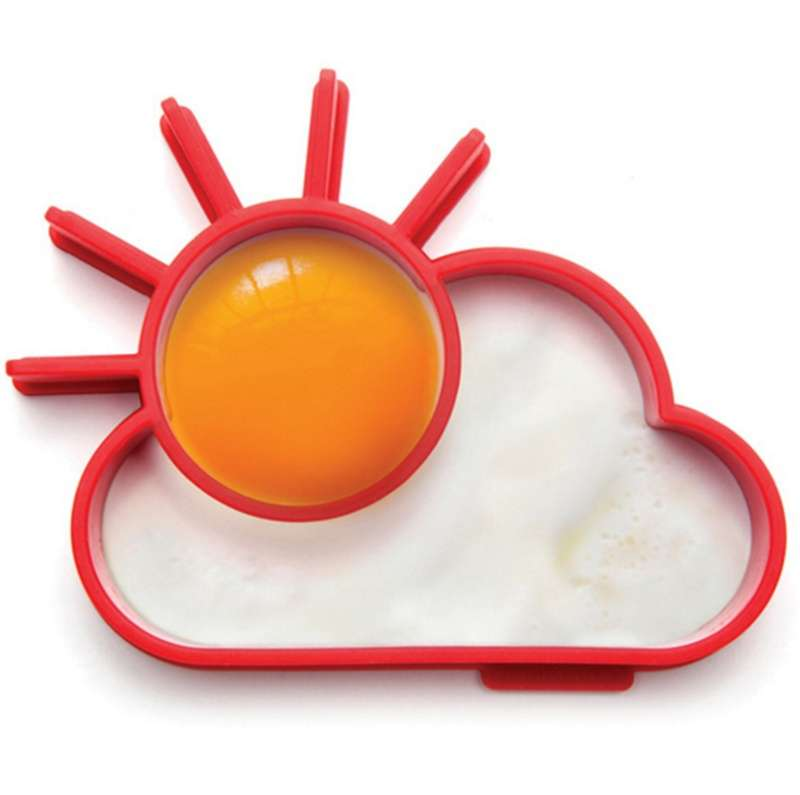 TA Silicone Cute Sun & Cloud Fried Egg Shaper Eggs Mould for Cooking Breakfast TE (Color: Red)-7