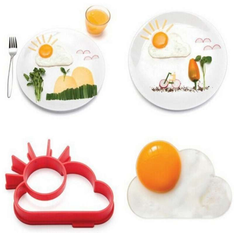 TA Silicone Cute Sun & Cloud Fried Egg Shaper Eggs Mould for Cooking Breakfast TE (Color: Red)-8