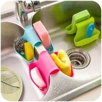 kT5E-Double Sink Caddy Saddle Style Kitchen Organizer Storage Sponge Holder Rack Tool WD