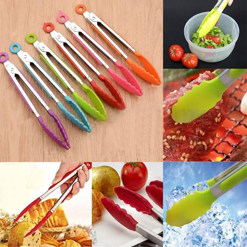 Silicone Cooking Salad Serving Stainless Steel Handle Utensil
