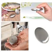 khCS-High Qualitity Cleaning Tool Stainless Steel Soap Oval Shape Deodorize Smell Magic Hands Eliminating Metallic Soap