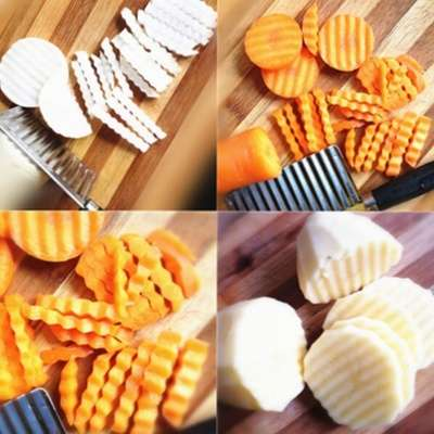 Potato Wavy Edged Knife Stainless Steel Kitchen Gadget Vegetable Fruit Cutting Peeler Cooking Tool Accessories-1