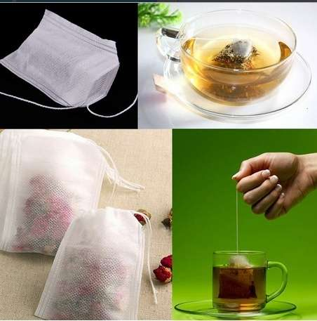 100pcs Empty Teabags String Heat Seal Filter Paper Herb Loose Tea Bag 5.5 x 6cm-2