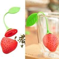 kshs-Silicone Strawberry Design Loose Tea Leaf Strainer Herbal Spice Infuser Filter