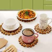 ku1H-Hollow Out Bamboo Ware Insulation Board Thicken Round Bowl Table Mat