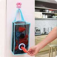 kuUO-Kitchen Hanging Type Breathable Mesh Grid Garbage Bags Storage Bag Convenient Extraction Pouch Bag