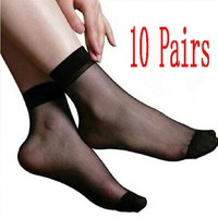 syB4-10 Pairs Sexy Women's Ultra Thin Silk Girl Short Stockings Ankle Low Cut Socks