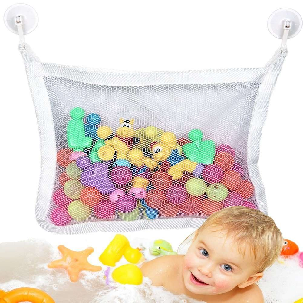 Baby Kids Bath Time Toy Tidy Storage Suction Cup Bag Mesh Bathroom ...
