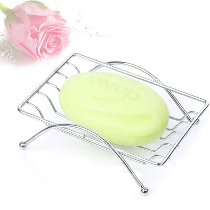 1 Piece Fashion Brief Stainless Steel Bathroom Soap Dishes Box Holder Tray (Color: Silver)-1