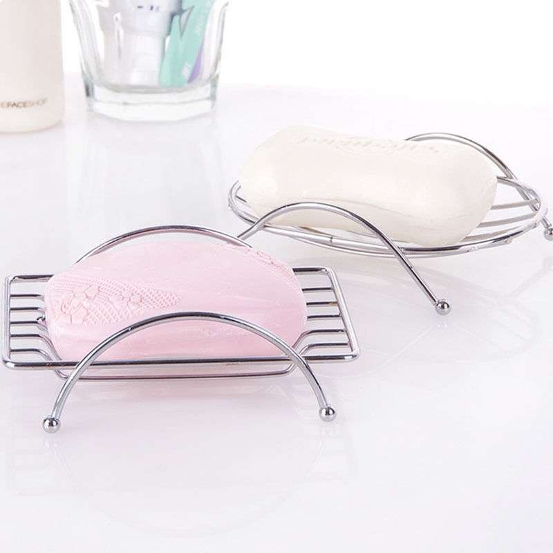 1 Piece Fashion Brief Stainless Steel Bathroom Soap Dishes Box Holder Tray (Color: Silver)-2